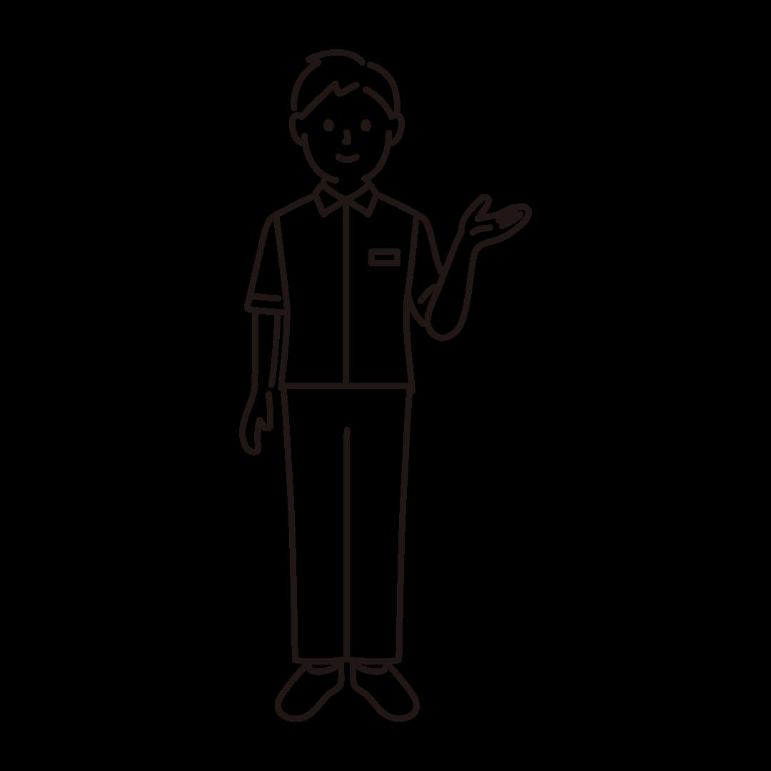 コンビニ店員(男性)の線画イラスト