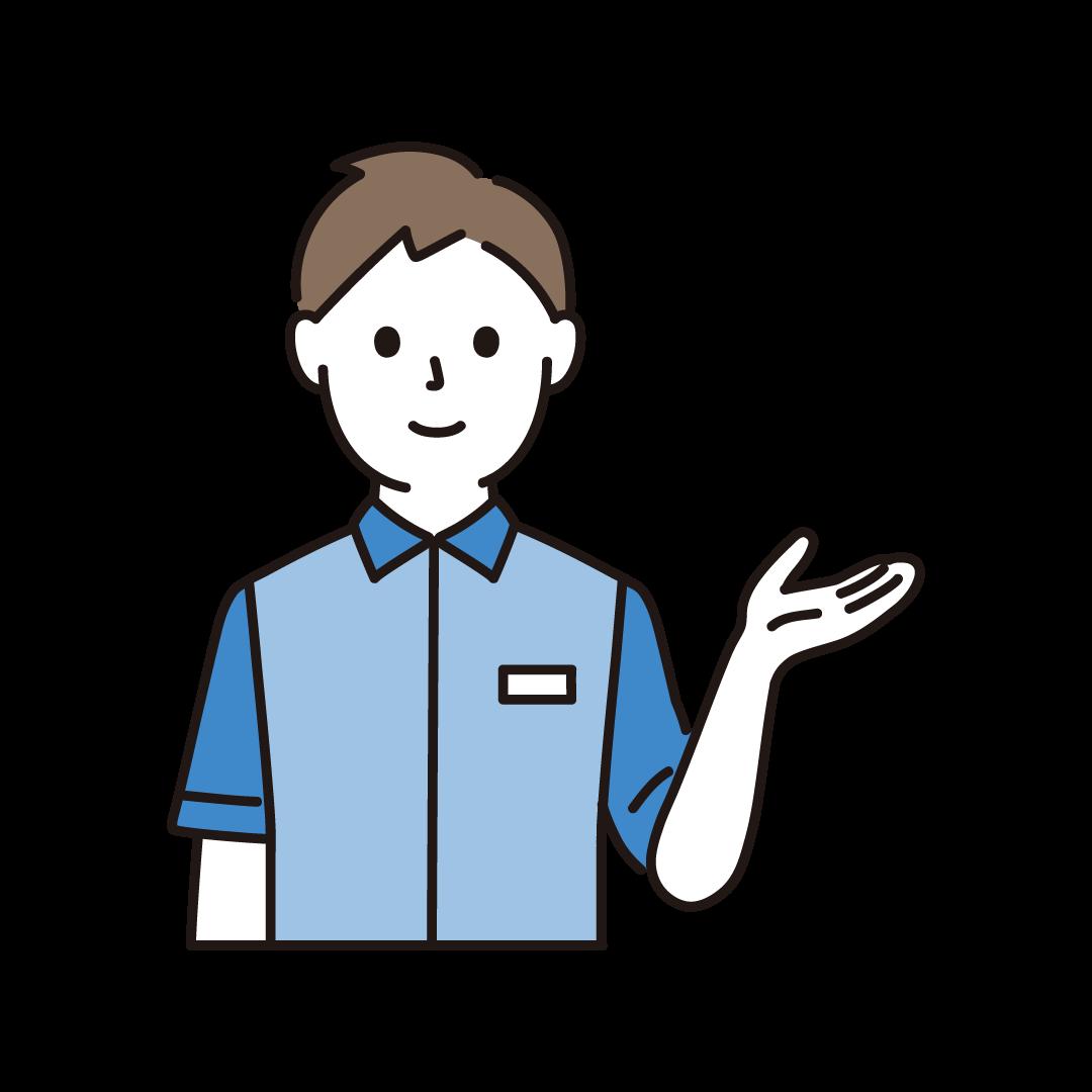 コンビニ店員(男性・上半身)のイラスト