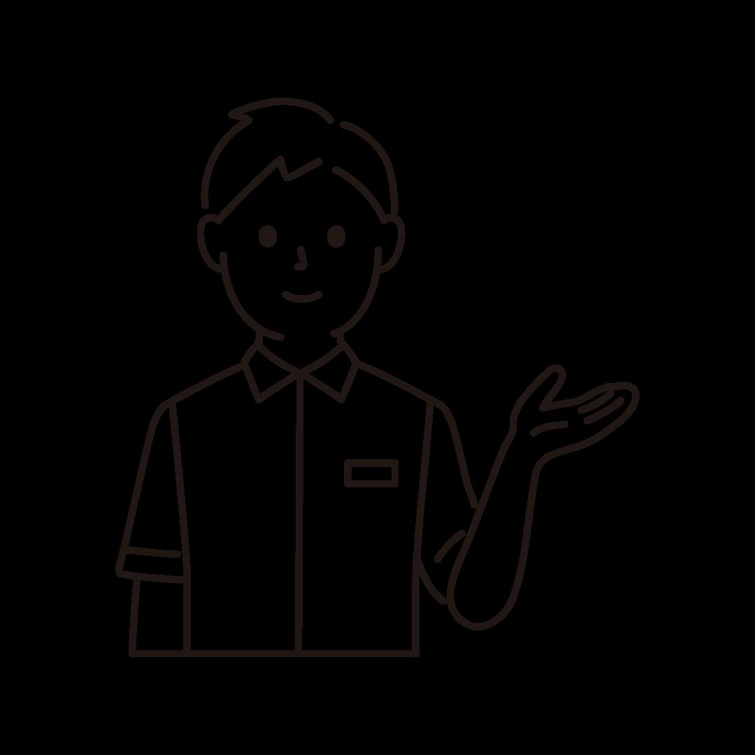 コンビニ店員(男性・上半身)の線画イラスト