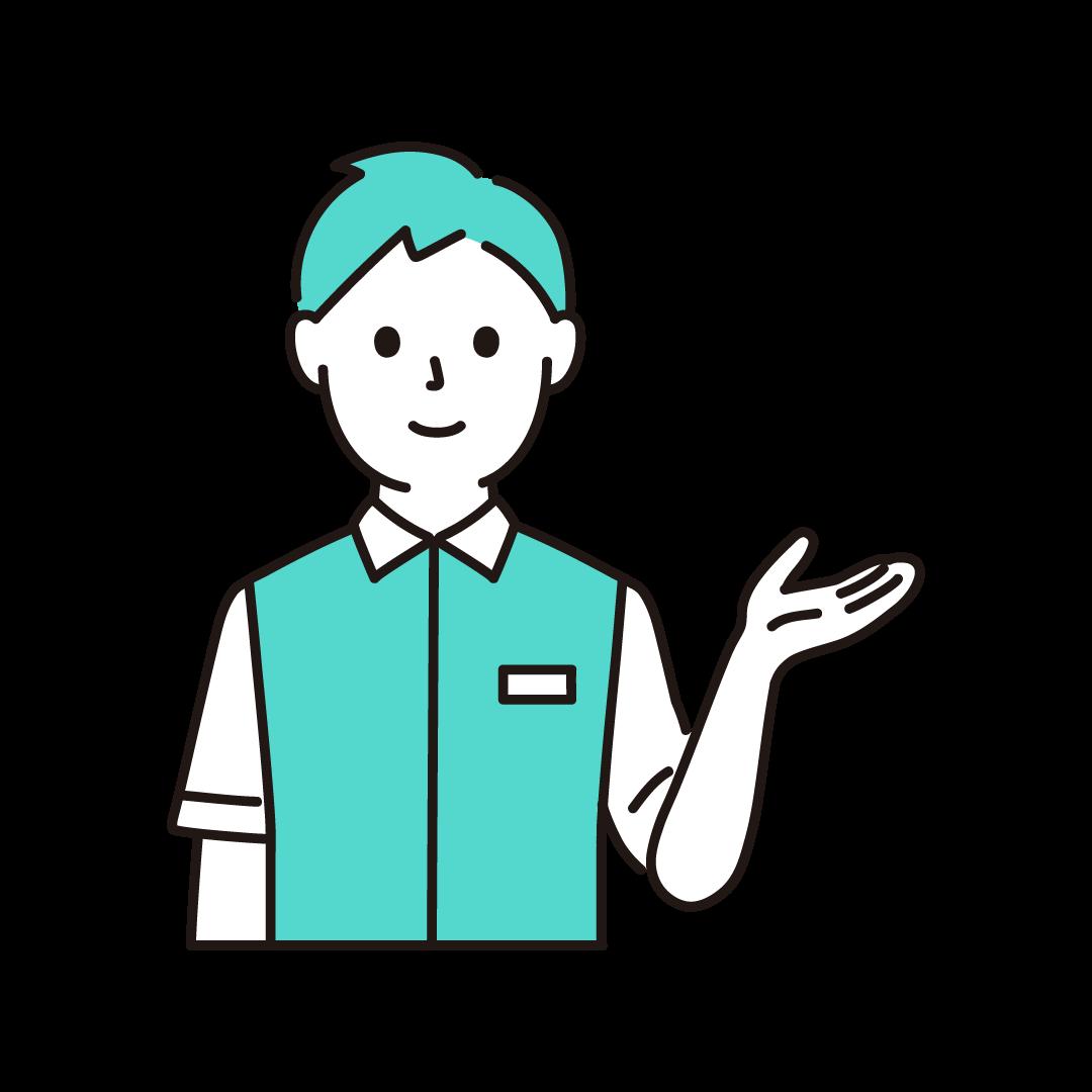 コンビニ店員(男性・上半身)の単色イラスト