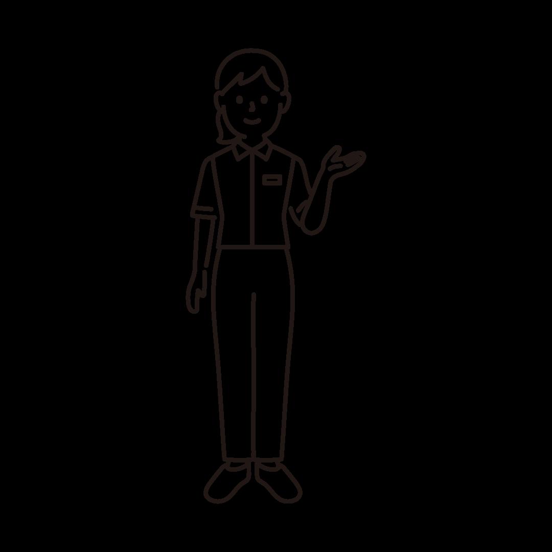 コンビニ店員(女性)の線画イラスト