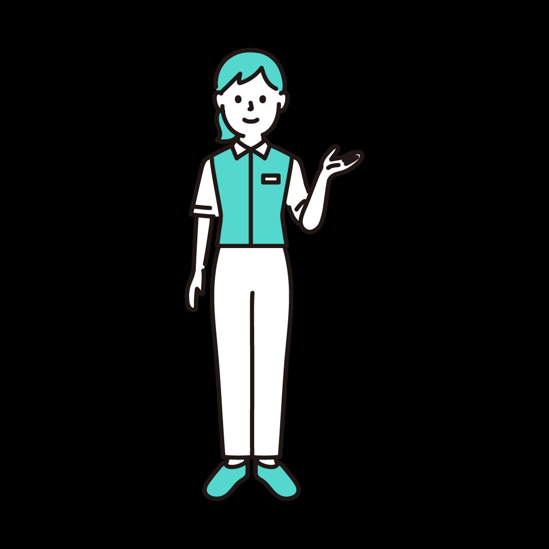 コンビニ店員(女性)の単色イラスト