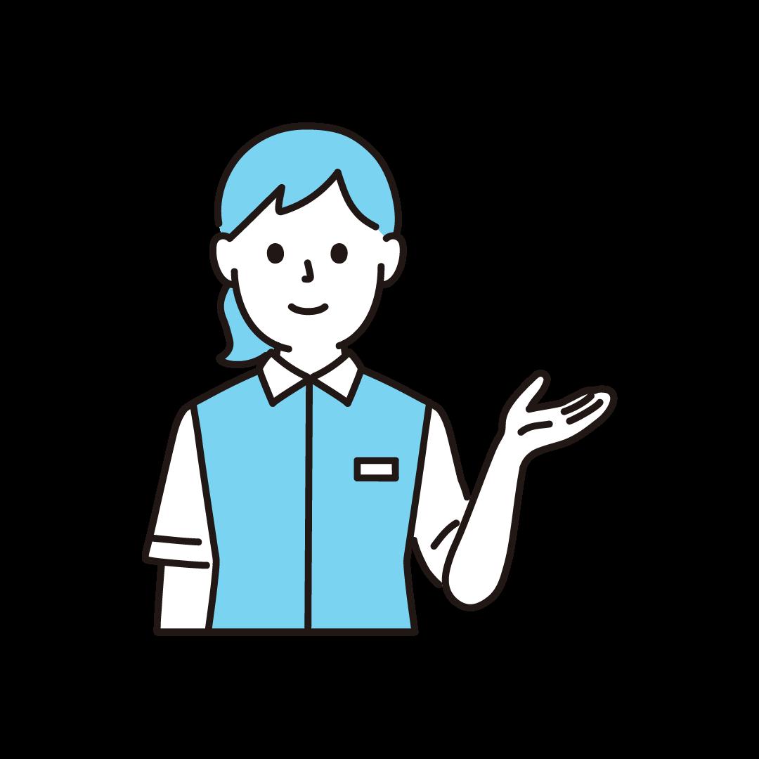 コンビニ店員(女性・上半身)の単色イラスト