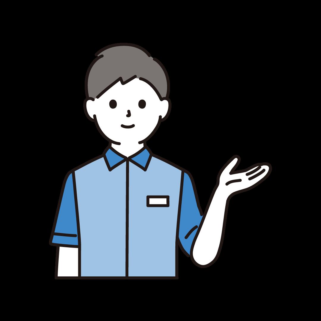 コンビニの男性店員(上半身)のイラスト