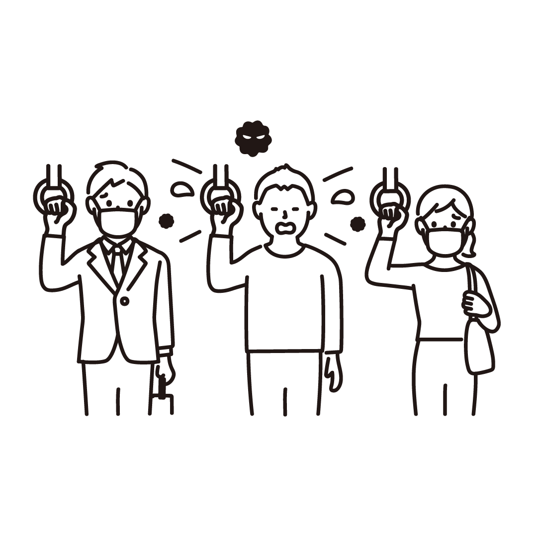電車の中でくしゃみをする人の線画イラスト