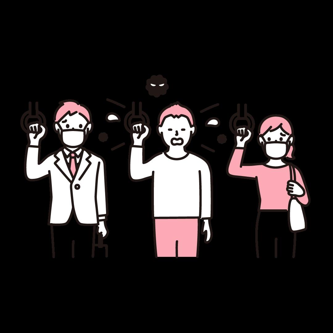 電車の中でくしゃみをする人の単色イラスト