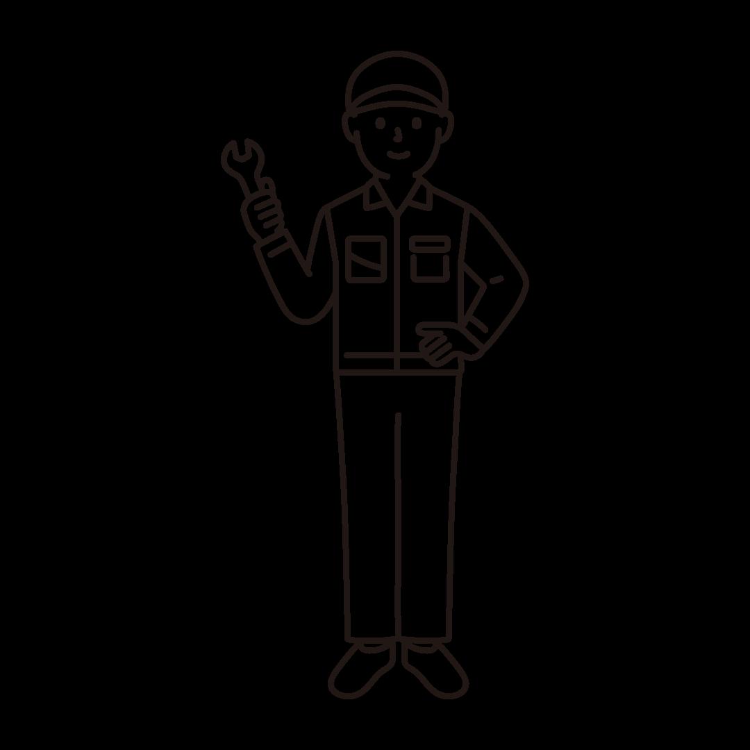 工場作業員(男性)の線画イラスト