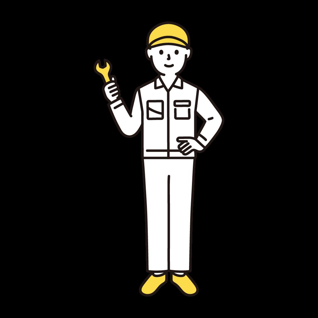 工場の作業員(男性)の単色イラスト