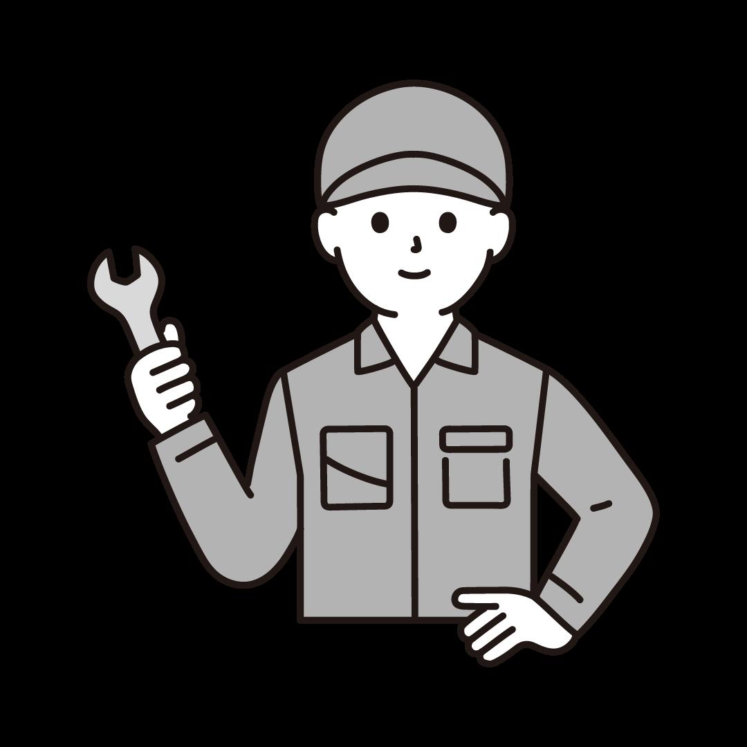 工場の男性作業員(上半身)のイラスト