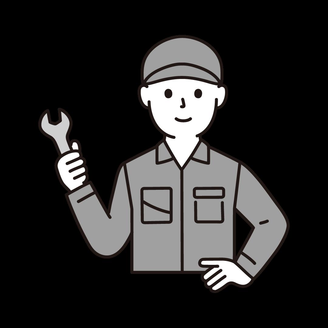 工場の作業員(男性・上半身)のイラスト