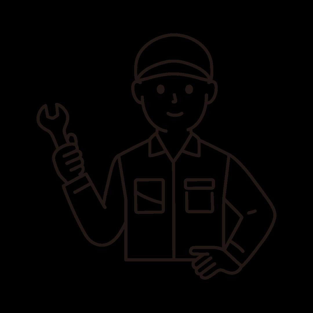 工場の作業員(男性・上半身)の線画イラスト
