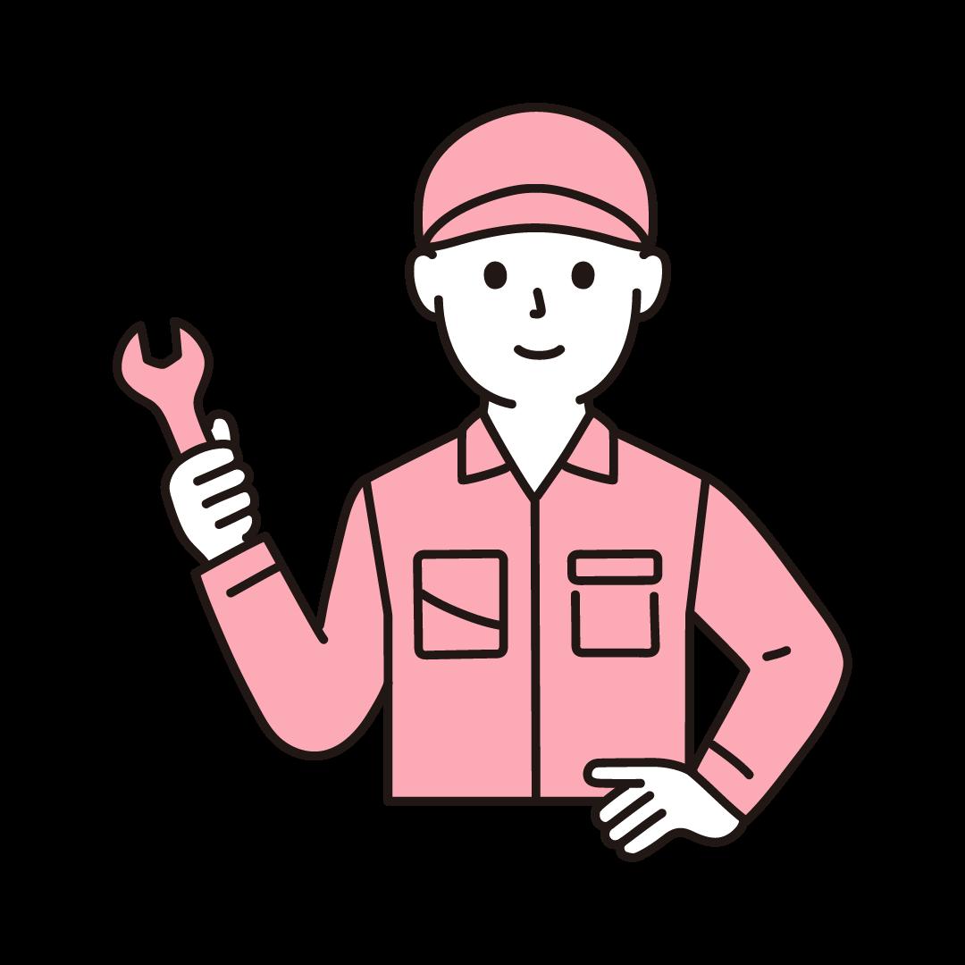 工場の作業員(男性・上半身)の単色イラスト