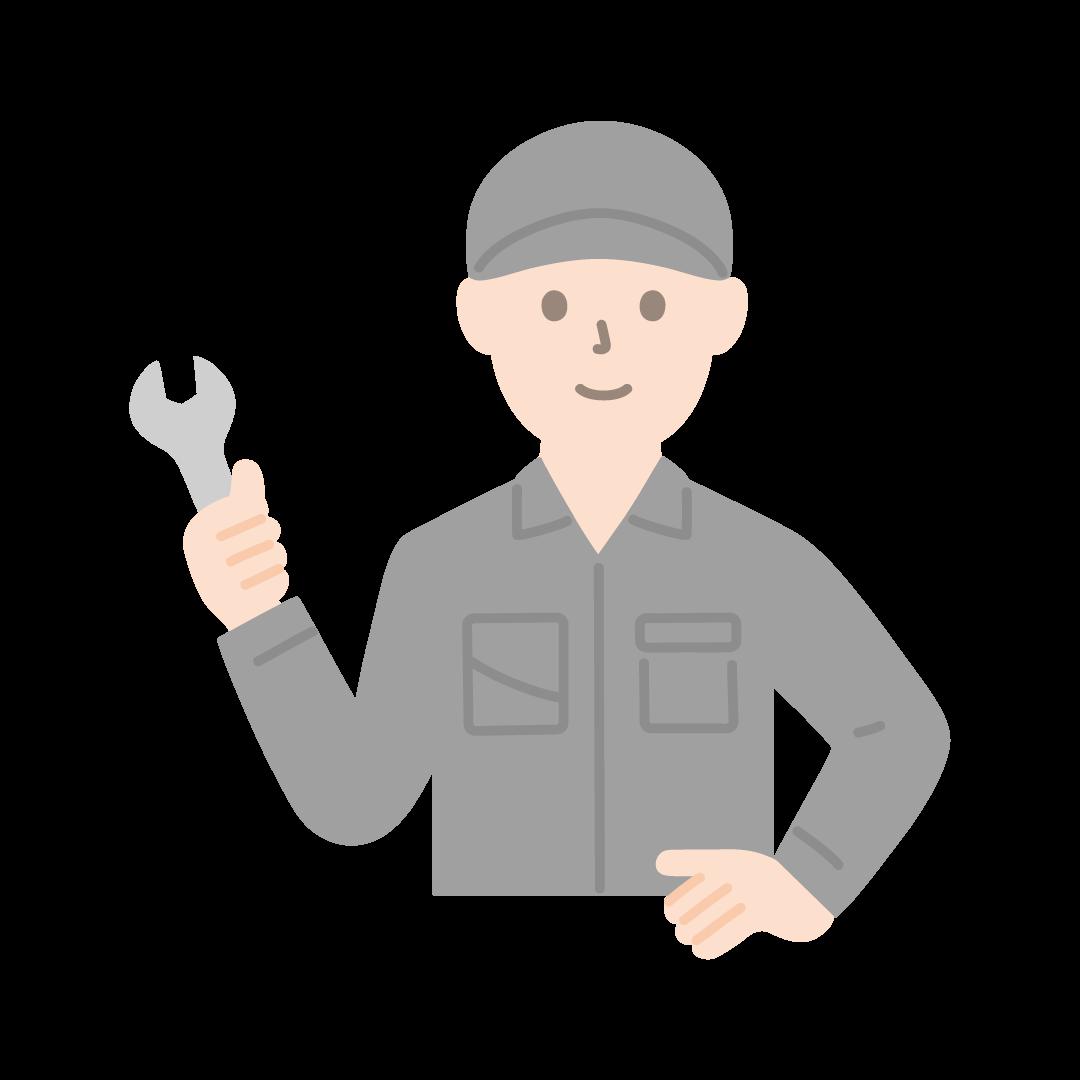 工場の作業員(男性・上半身)の塗りイラスト