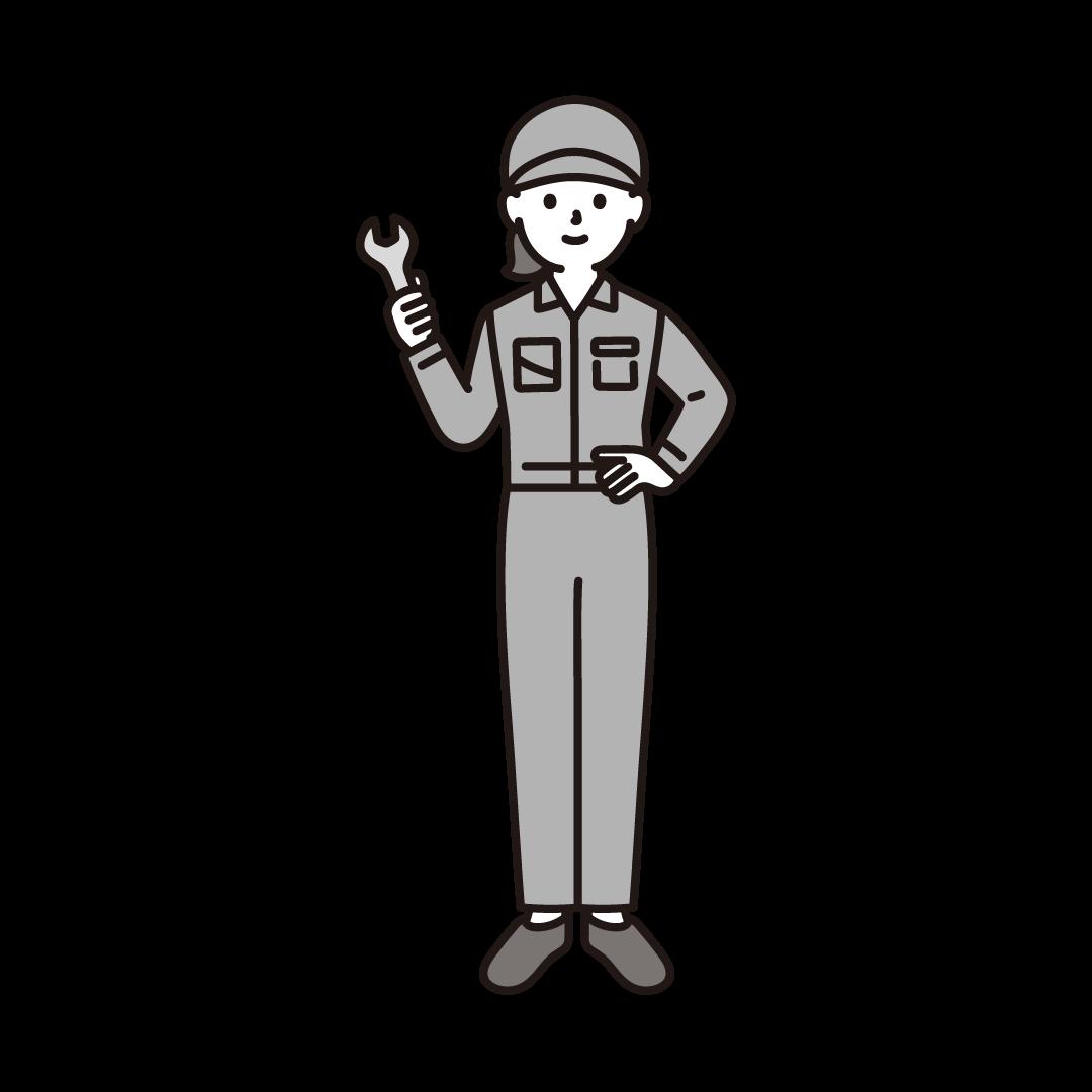 工場の女性作業員のイラスト