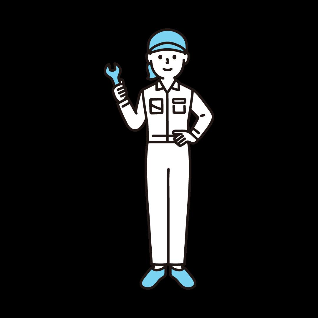 工場の作業員(女性)の単色イラスト