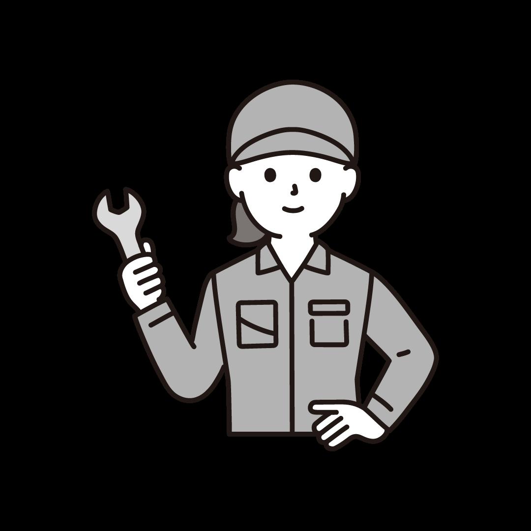 工場の女性作業員(上半身)のイラスト