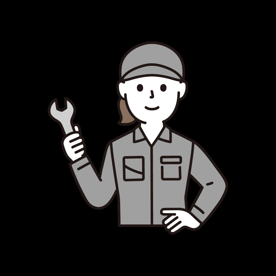 工場の作業員(女性・上半身)