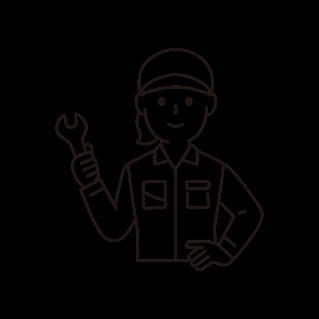 工場の作業員(女性・上半身)の線画イラスト