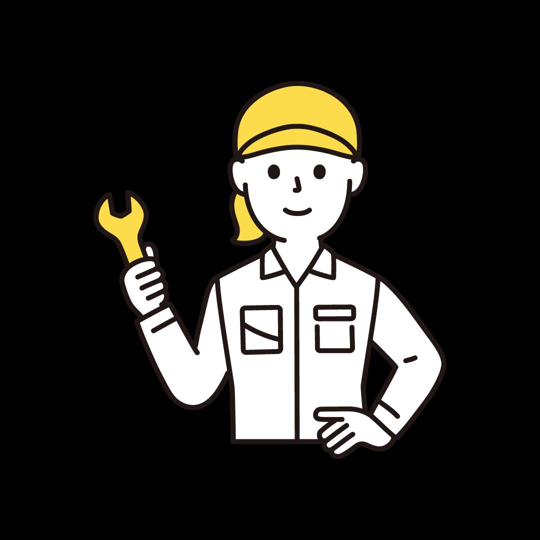 工場の作業員(女性・上半身)の単色イラスト