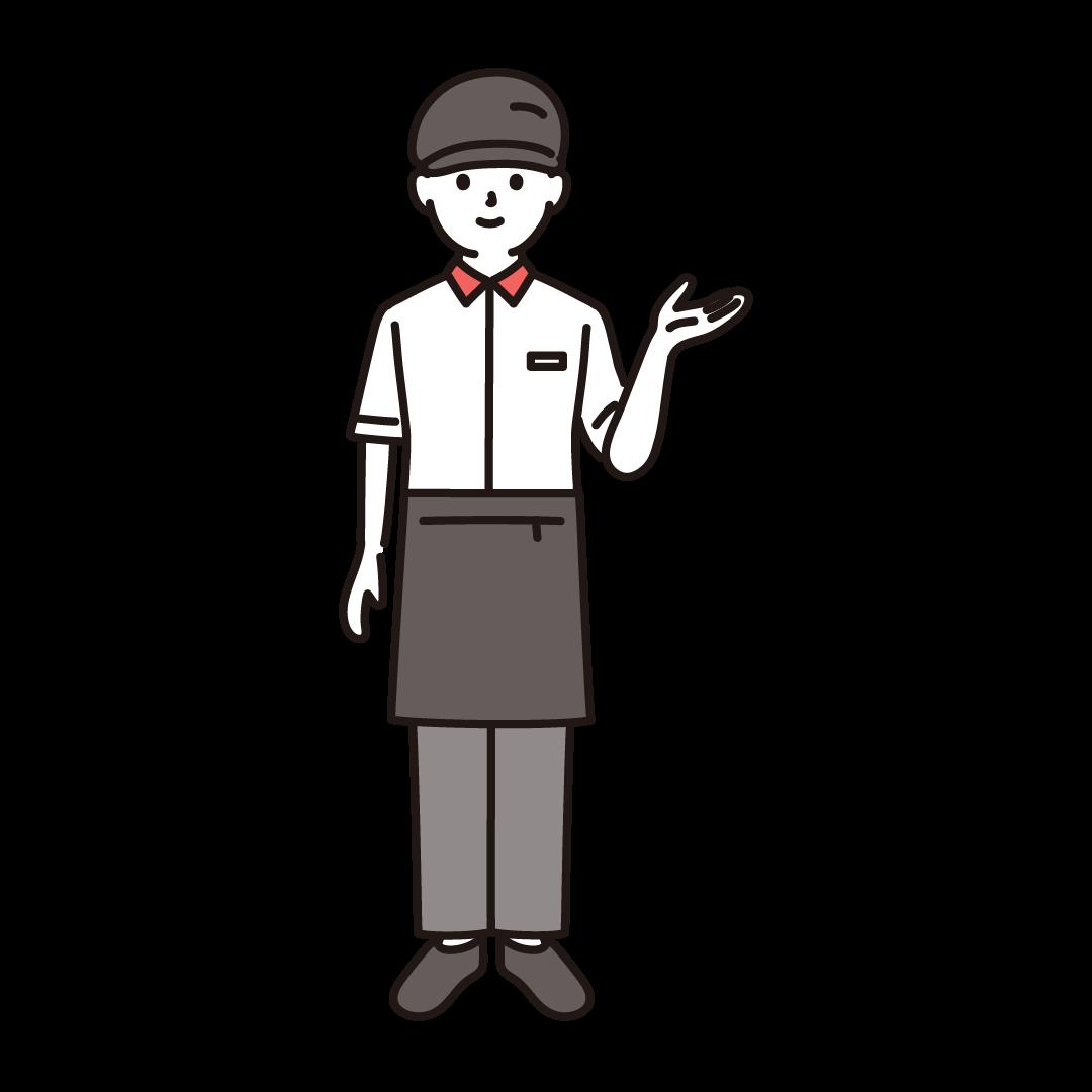 ファーストフードの男性店員のイラスト