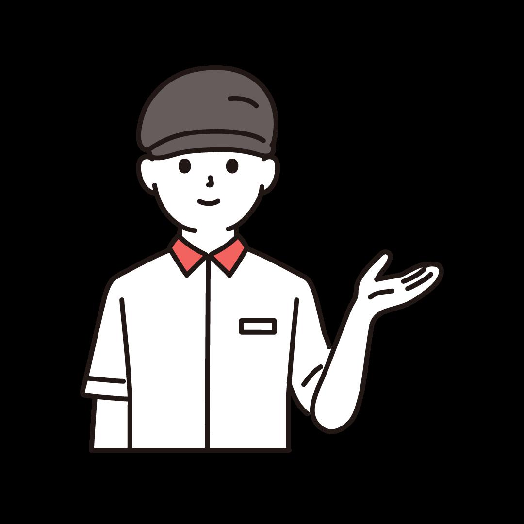 ファーストフードの男性店員(上半身)のイラスト