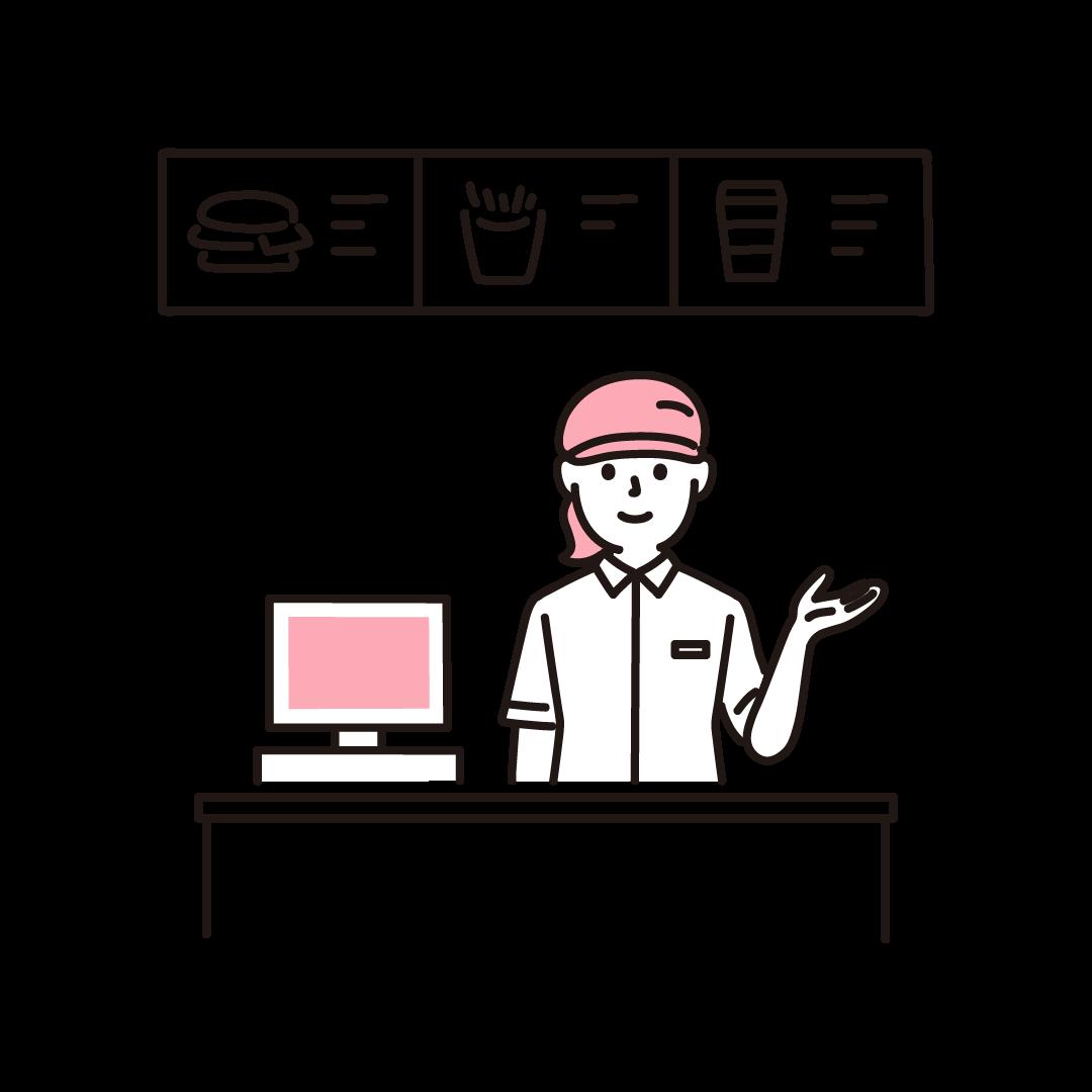 ファーストフード店のレジ(女性)の単色イラスト