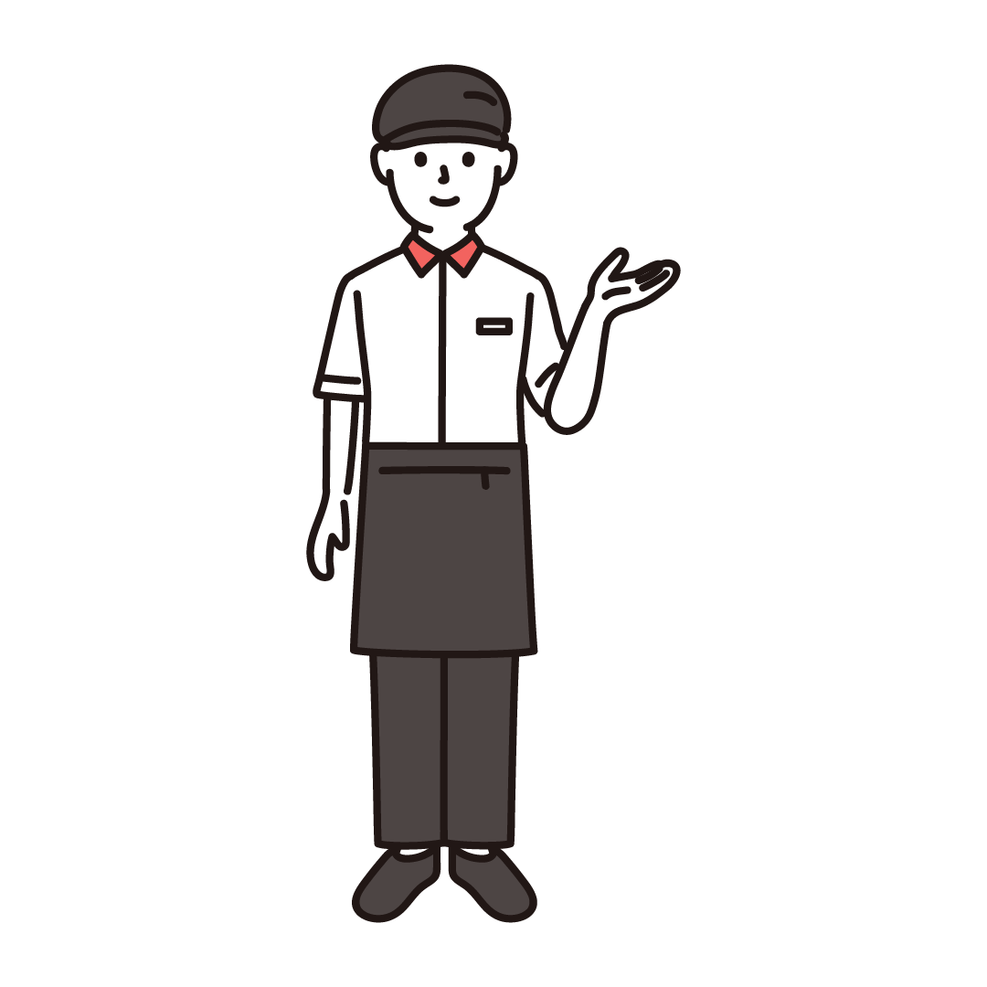 ファーストフード店員(男性)のイラスト