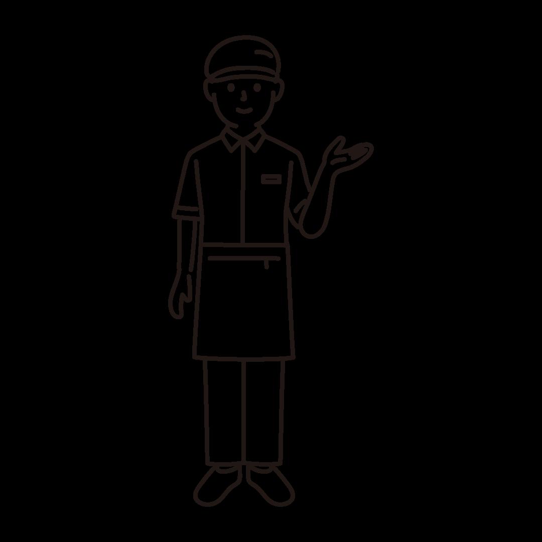 ファーストフード店員(男性)の線画イラスト