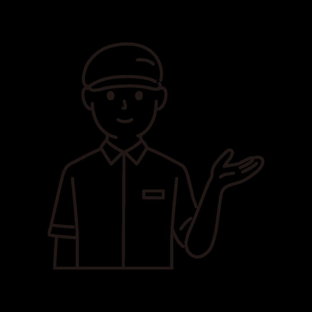 ファーストフードの男性店員(上半身)の線画イラスト