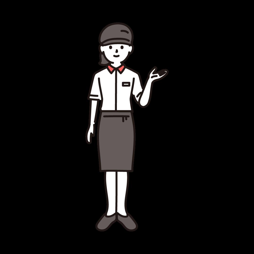 ファーストフードの女性店員のイラスト