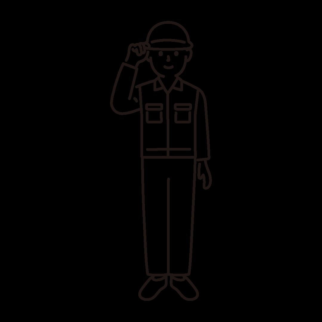 現場作業員(男性)の線画イラスト