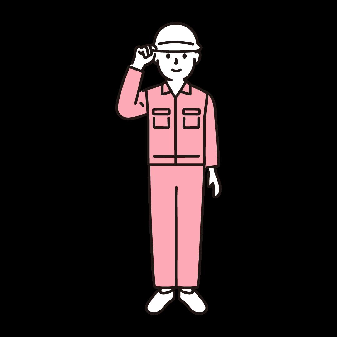 現場作業員(男性)のイラスト(ピンク)
