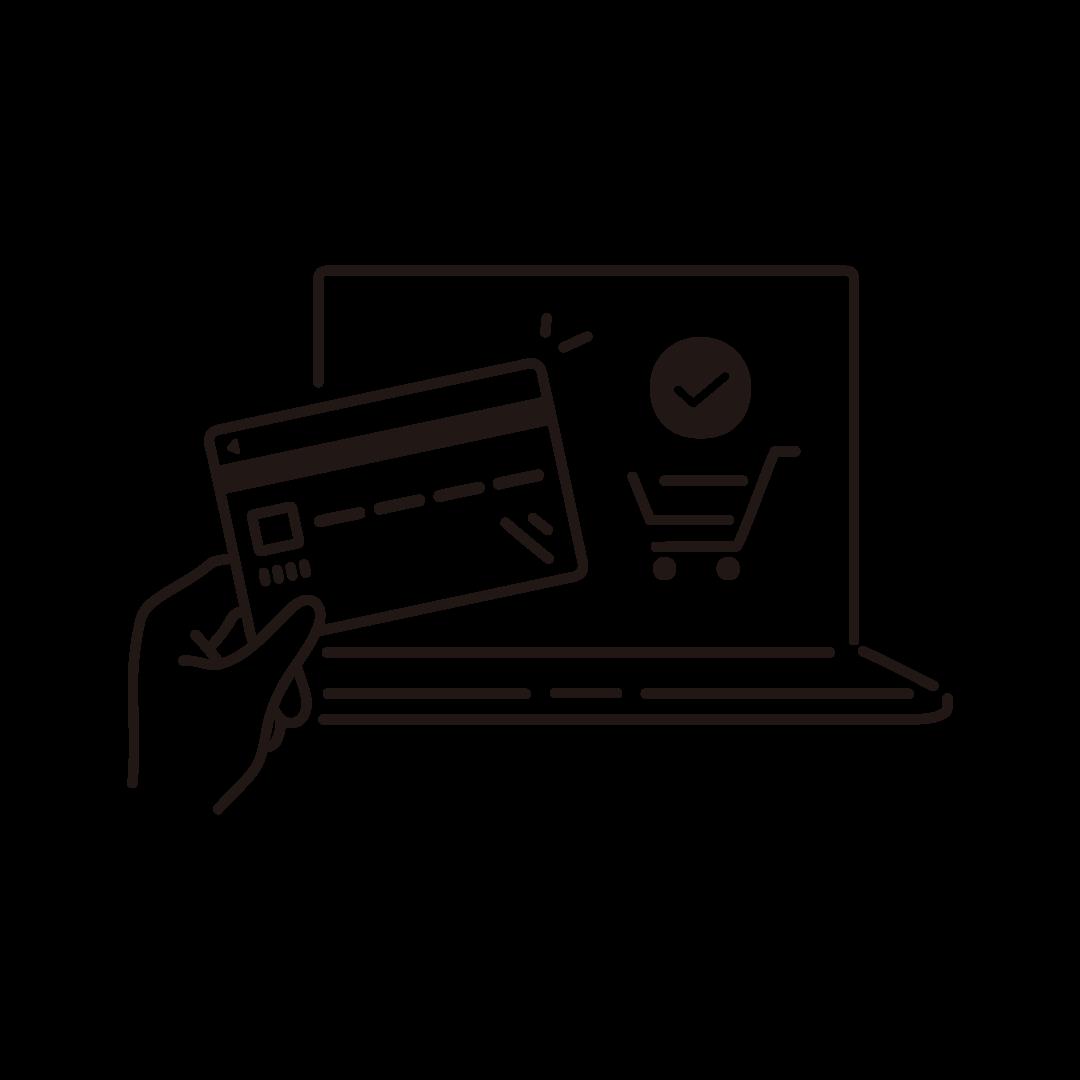 ネットショッピング(クレジットカード決済)の線画イラスト