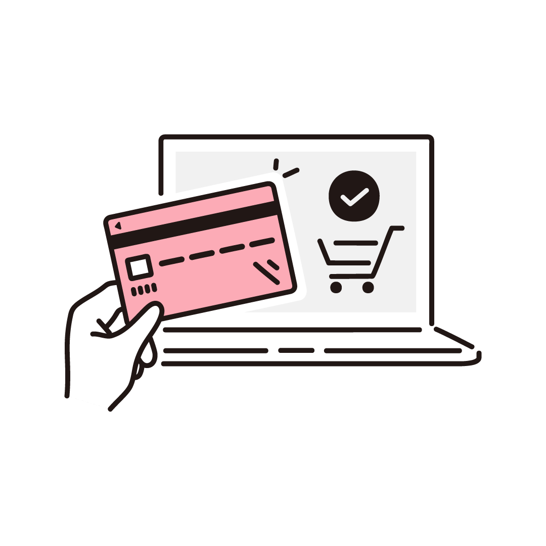 ネットショッピング(クレジットカード決済)の単色イラスト