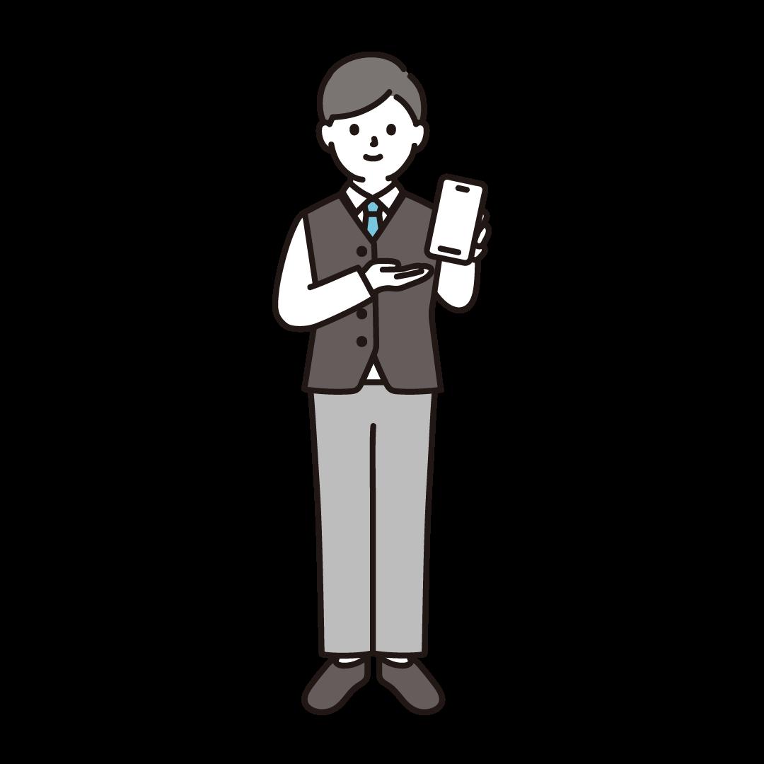 携帯電話販売員(男性)のイラスト