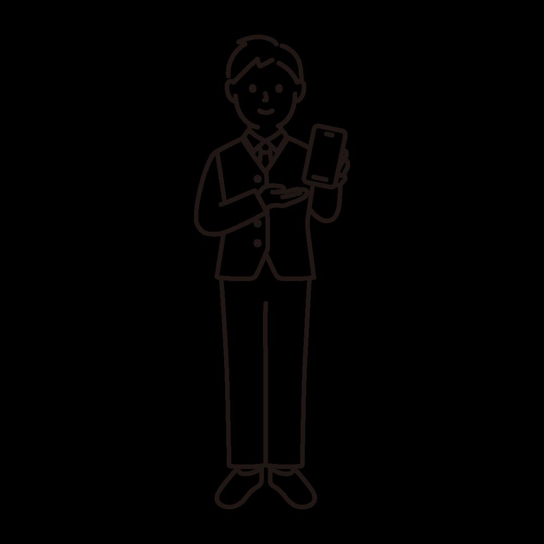 携帯電話販売員(男性)の線画イラスト