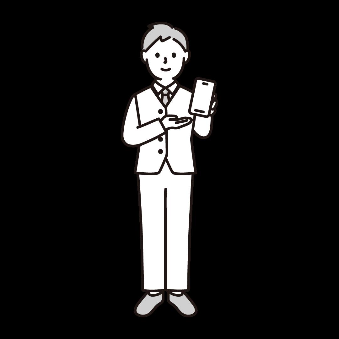 携帯電話販売員(男性)の単色イラスト
