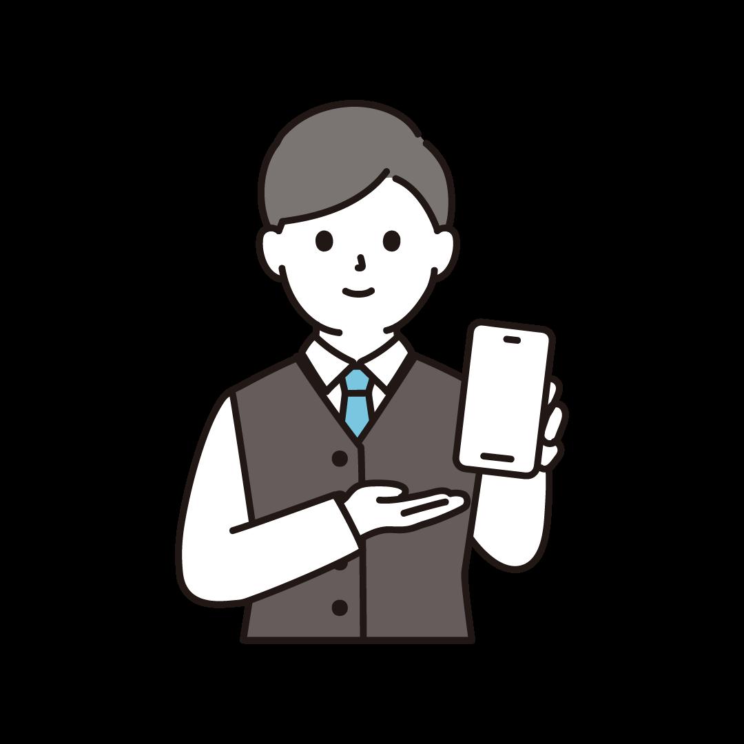 男性の携帯電話販売員(上半身)のイラスト