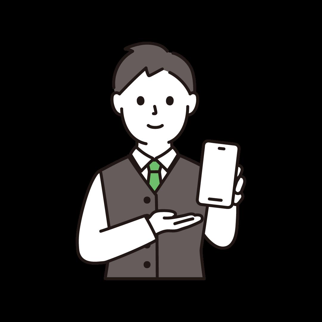 携帯電話販売員(男性・上半身)
