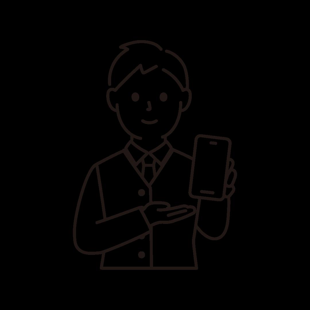 携帯電話販売員(男性・上半身)の線画イラスト