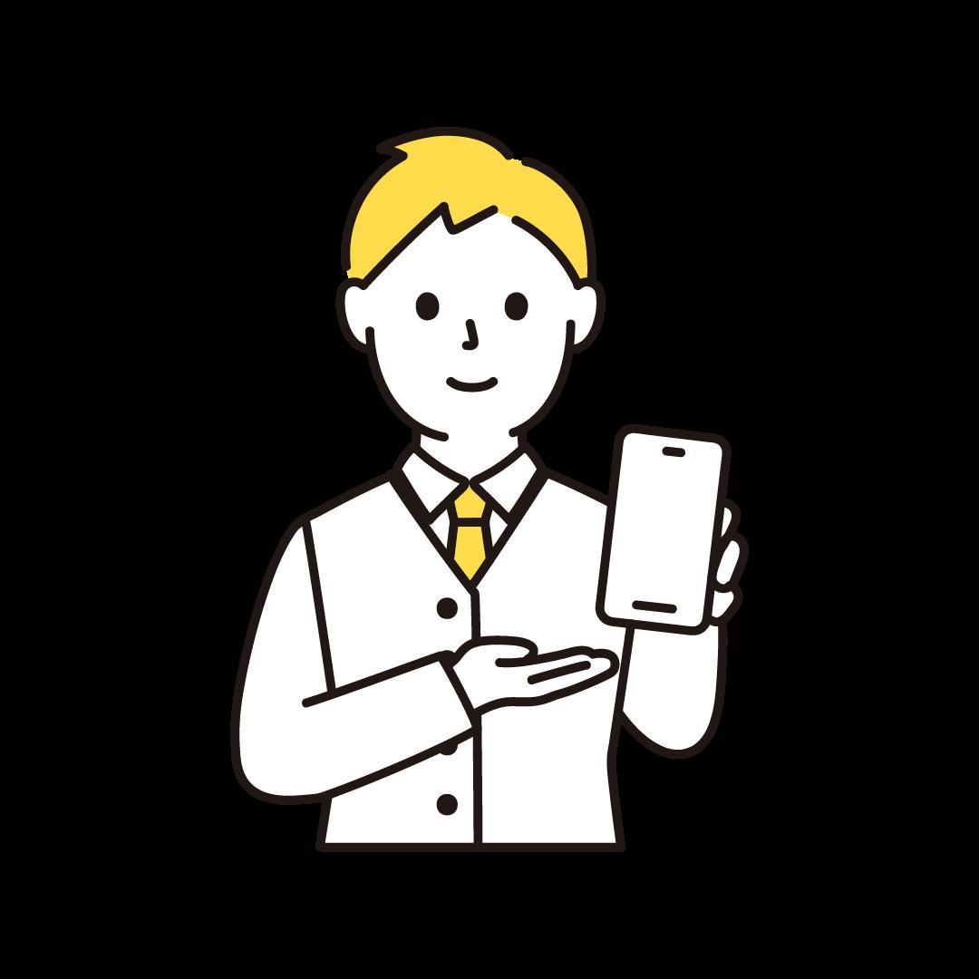 携帯電話販売員(男性・上半身)の単色イラスト