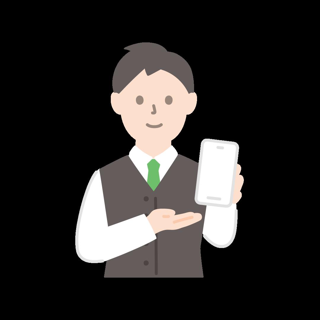 携帯電話販売員(男性・上半身)の塗りイラスト