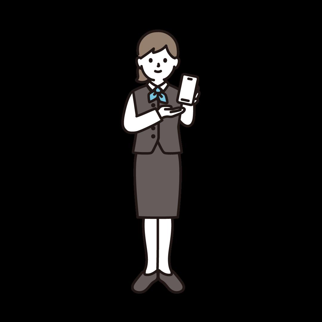 携帯電話販売員(女性)のイラスト