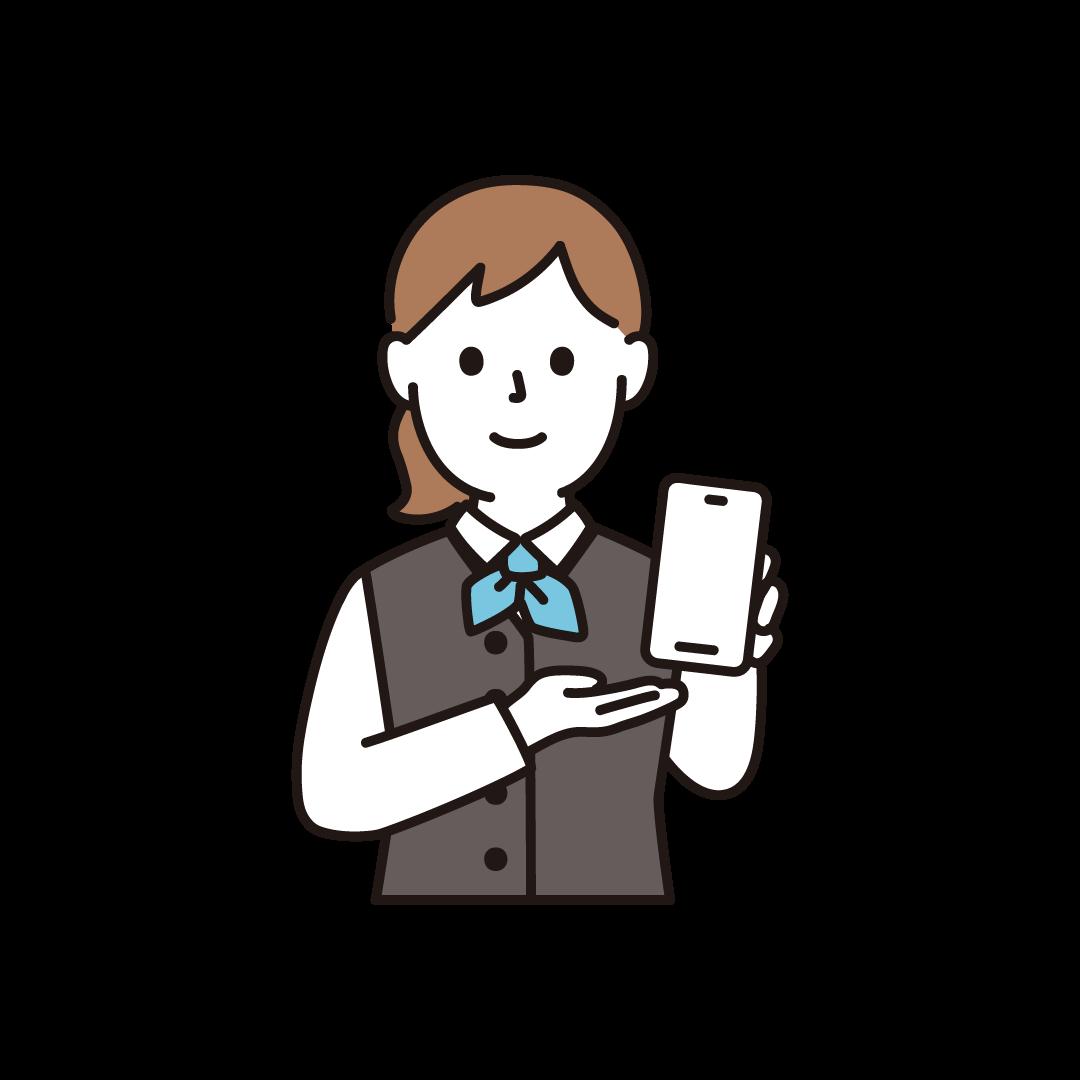 携帯電話販売員(女性・上半身)
