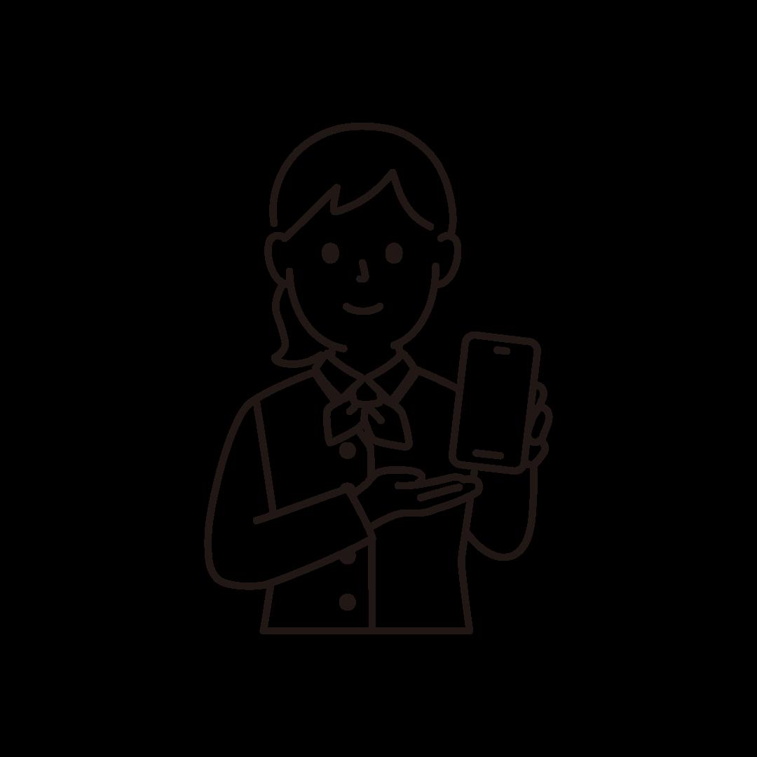 携帯電話販売員(女性・上半身)の線画イラスト