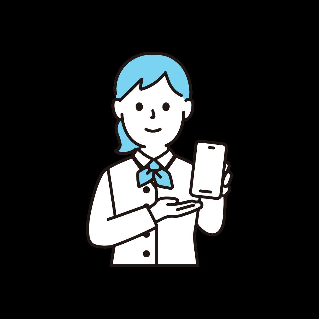 携帯電話販売員(女性・上半身)の単色イラスト