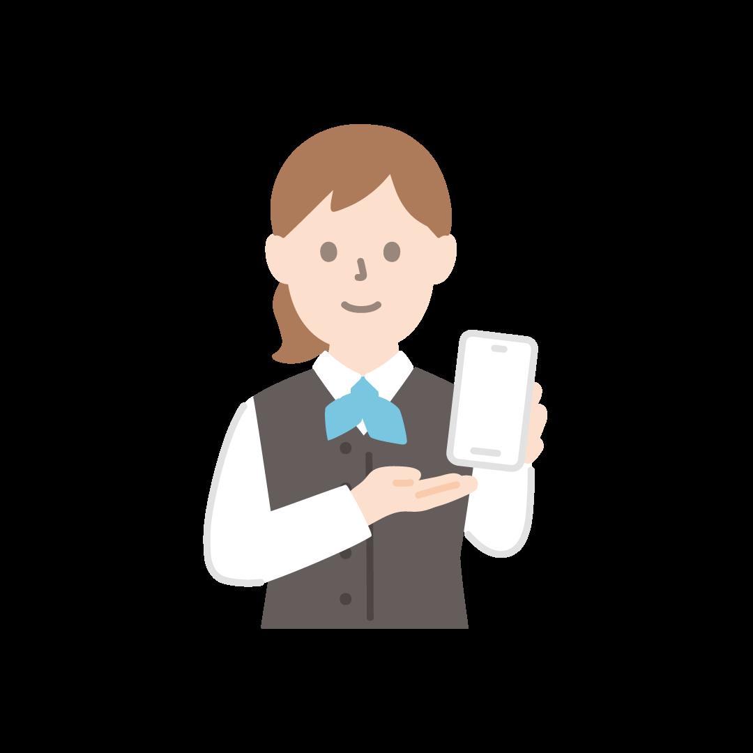 携帯電話販売員(女性・上半身)の塗りイラスト