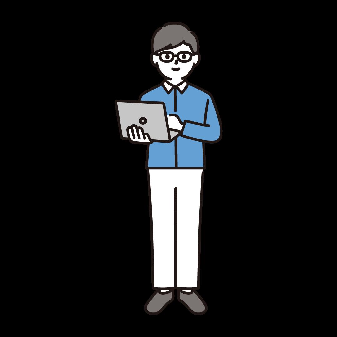 男性プログラマーのイラスト