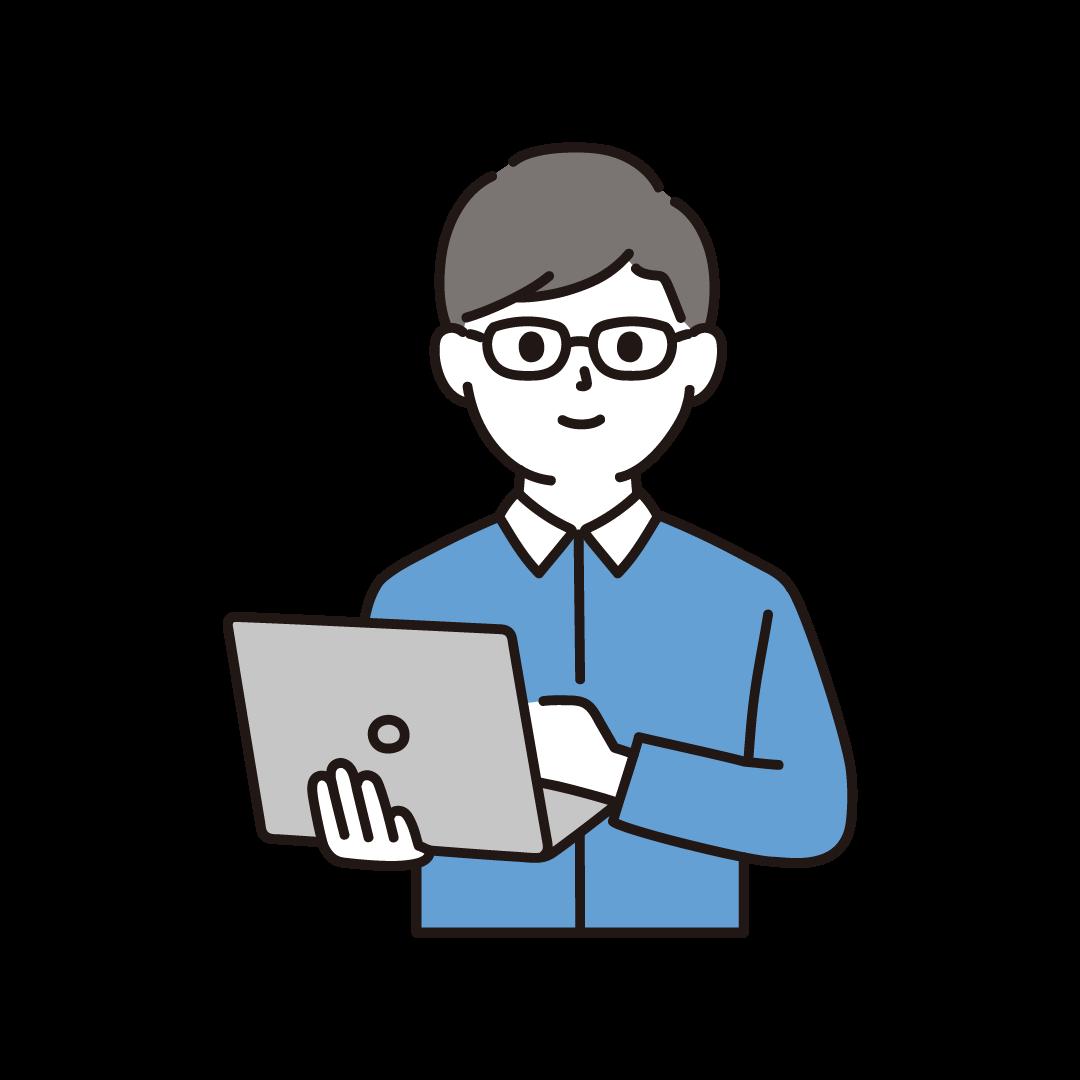 男性プログラマ―(上半身)のイラスト