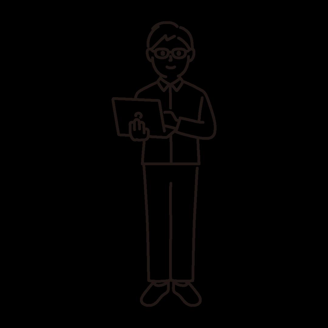 プログラマー(男性)の線画イラスト